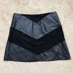 ZARA chevron black faux leather suede skirt size L